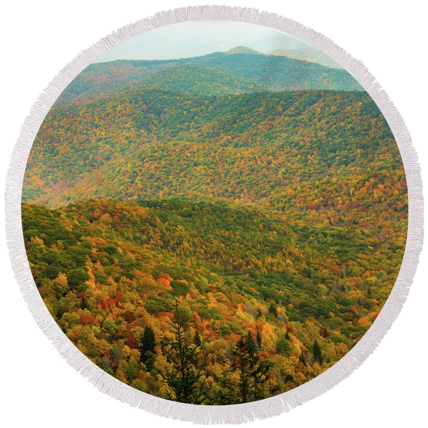 Grand Father Mountain Round Beach Towel featuring the photograph North Carolina Fall Colors by Donald Trimble