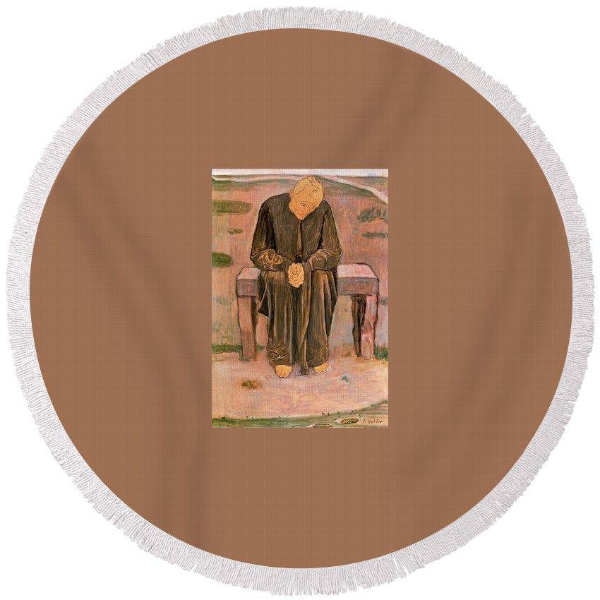 Garment Round Beach Towel featuring the digital art 37560 Ferdinand Hodler by Eloisa Mannion