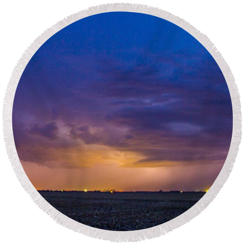 Nebraskasc Round Beach Towel featuring the photograph First Nebraska Storm Chase 2015 by Dale Kaminski
