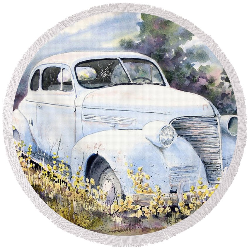 Automobile Round Beach Towel featuring the painting 39 Chevy by Sam Sidders