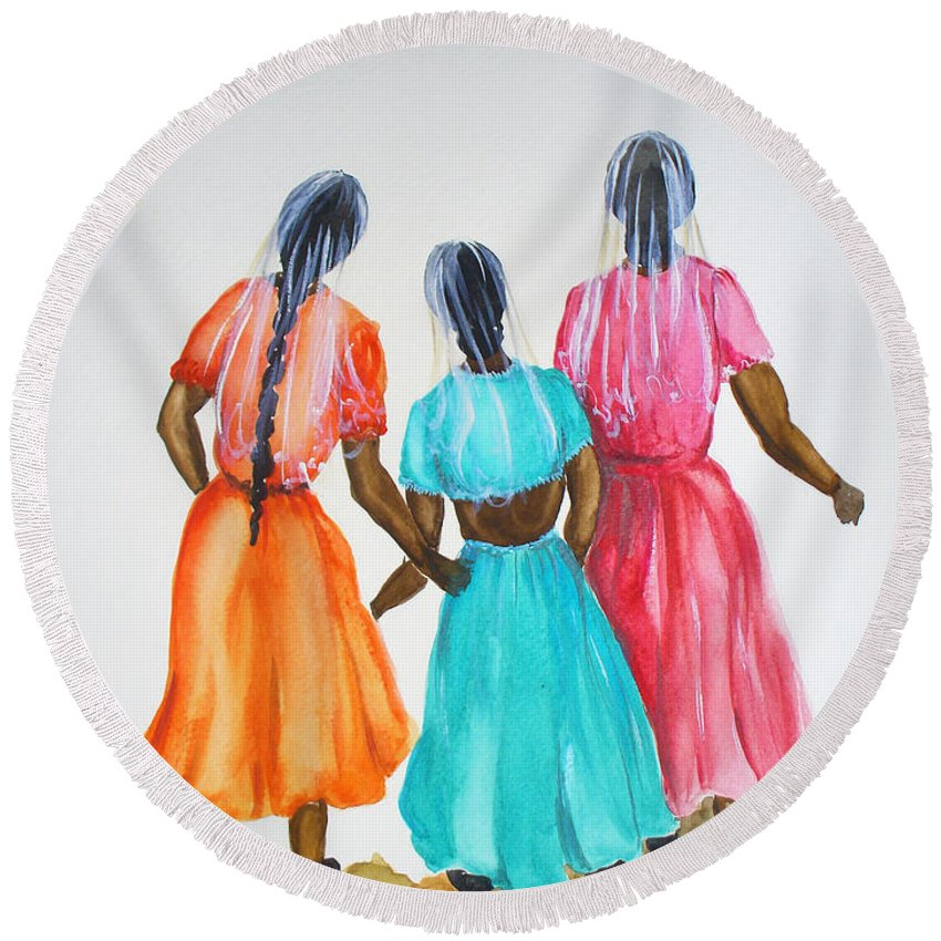 Three Ladies East Indian Round Beach Towel featuring the painting 3bff by Karin Dawn Kelshall- Best