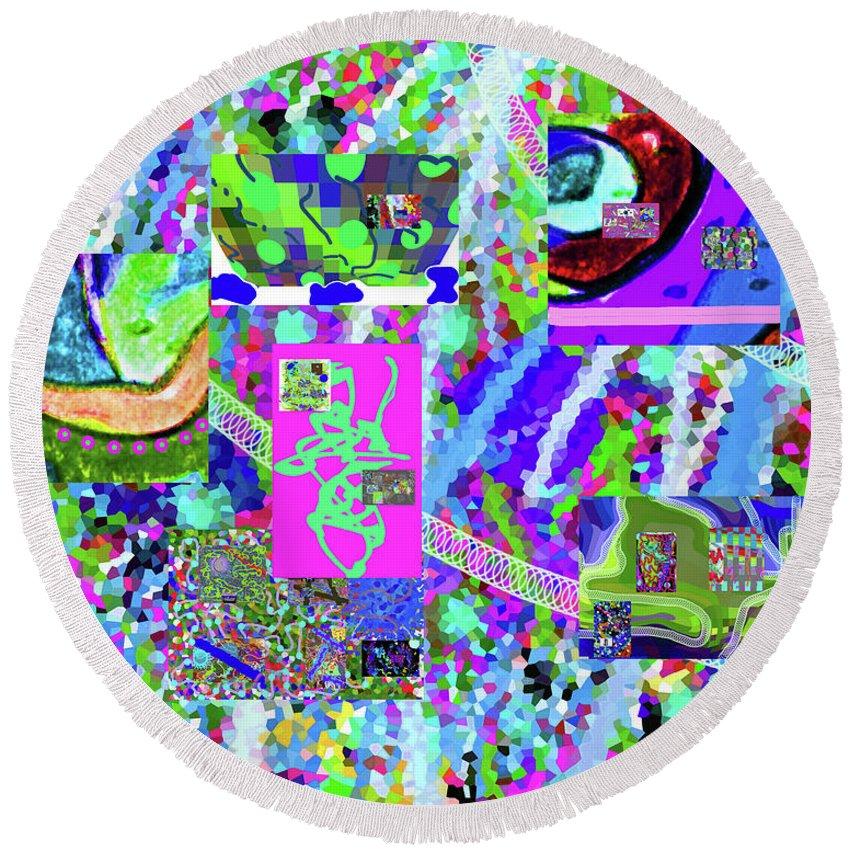Walter Paul Bebirian Round Beach Towel featuring the digital art 4-12-2015cabcdefghij by Walter Paul Bebirian