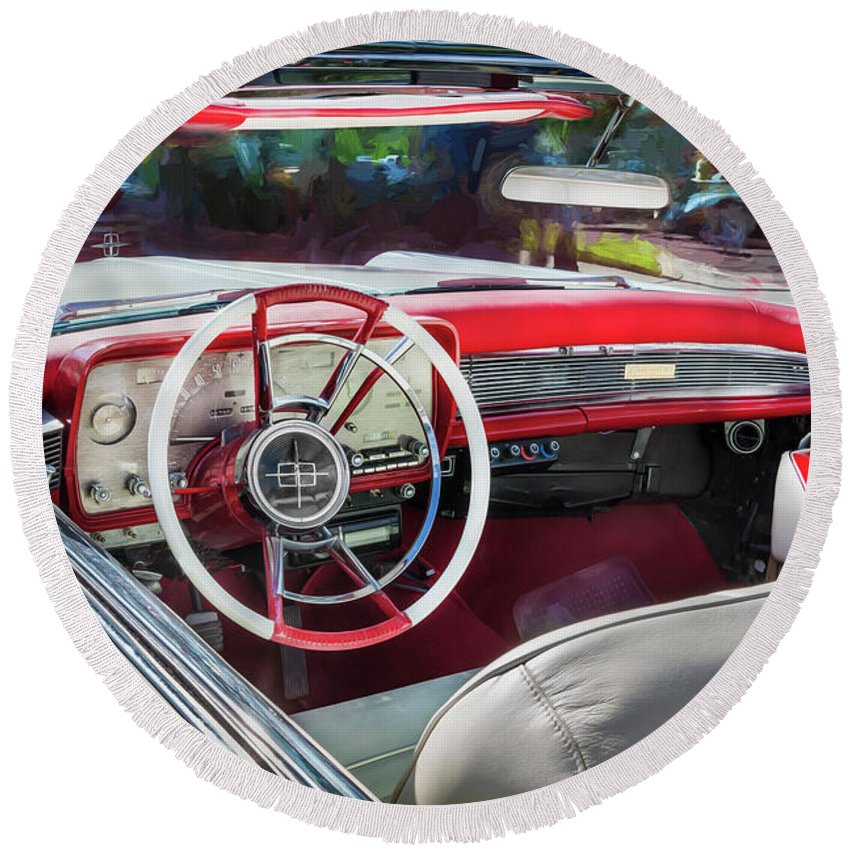 1959 Lincoln Round Beach Towel featuring the photograph 1959 Lincoln Continental Town Car Mk Iv Painted by Rich Franco