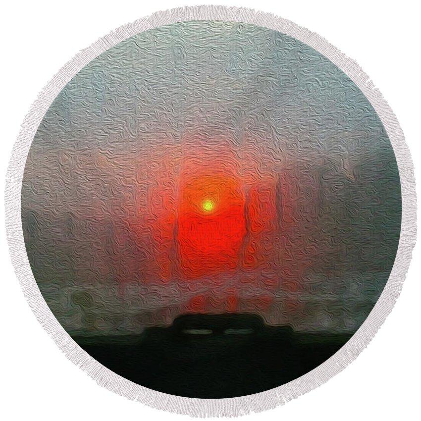 Walter Paul Bebirian Round Beach Towel featuring the digital art 4-23-2017g by Walter Paul Bebirian