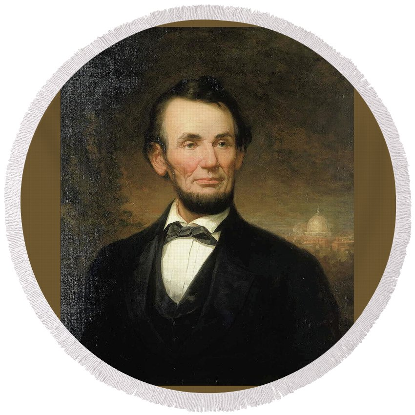 George Story - Abraham Lincoln Round Beach Towel featuring the painting Abraham Lincoln by George Story