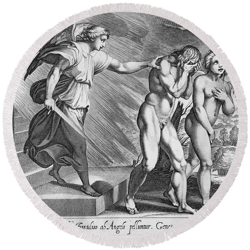 Adam Round Beach Towel featuring the photograph Adam And Eve by Granger