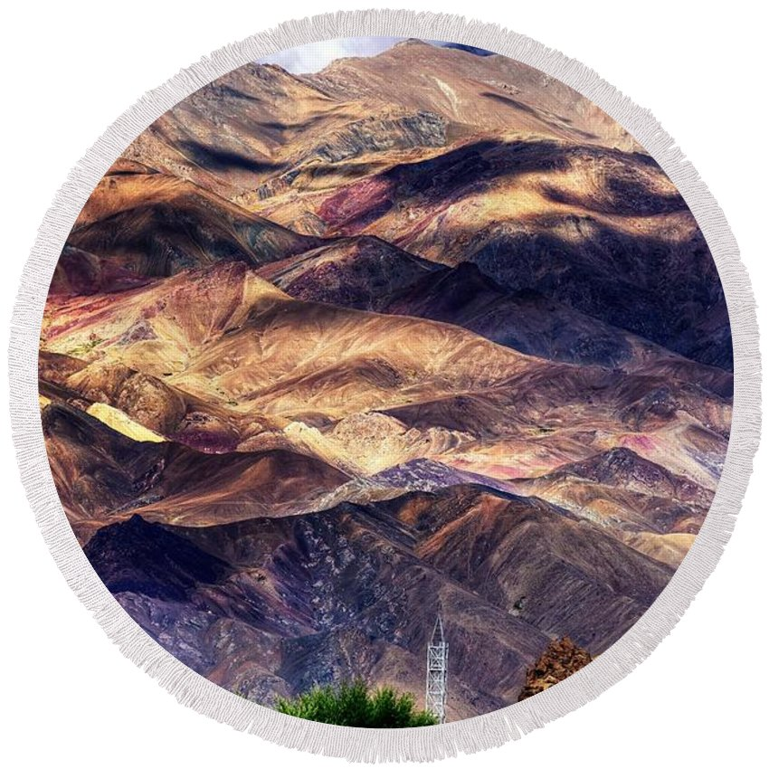 Landscape Round Beach Towel featuring the photograph aerial view of Leh ladakh landscape Jammu and Kashmir India by Rudra Narayan Mitra