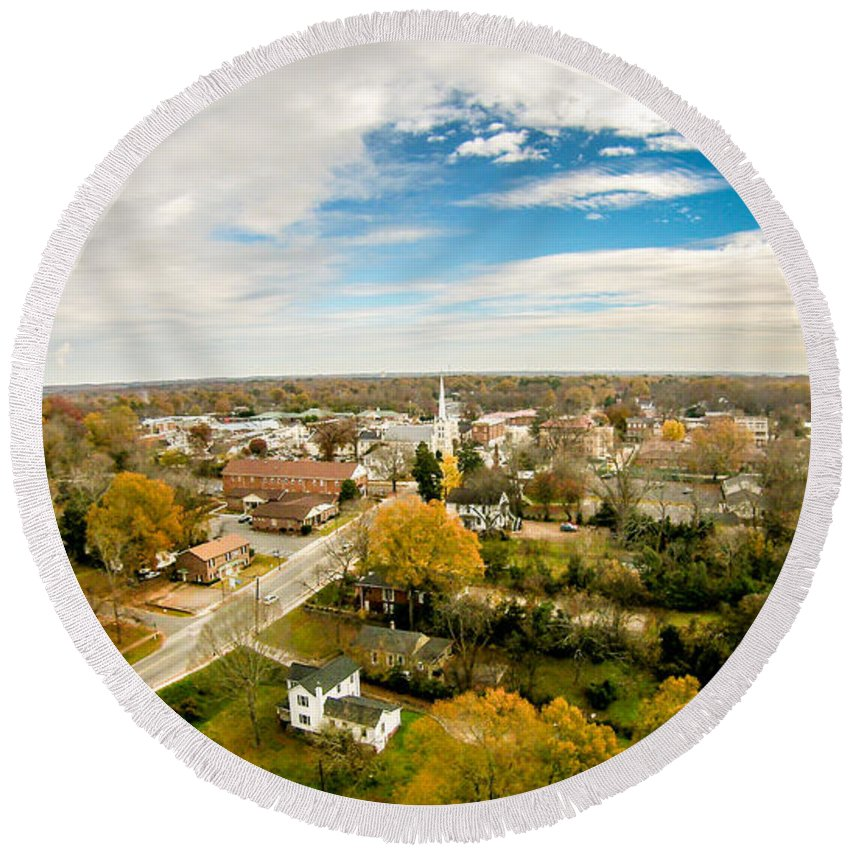 Aerial Round Beach Towel featuring the photograph Aerial View Over White Rose City York Soth Carolina by Alex Grichenko