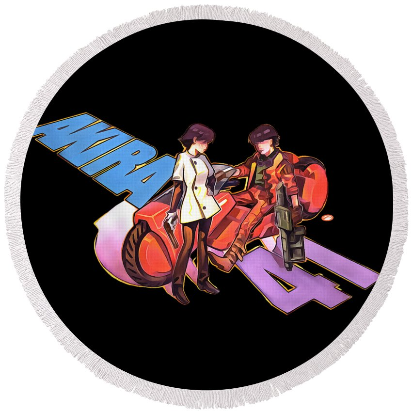 Akira Round Beach Towel featuring the digital art Akira by Candra Dian