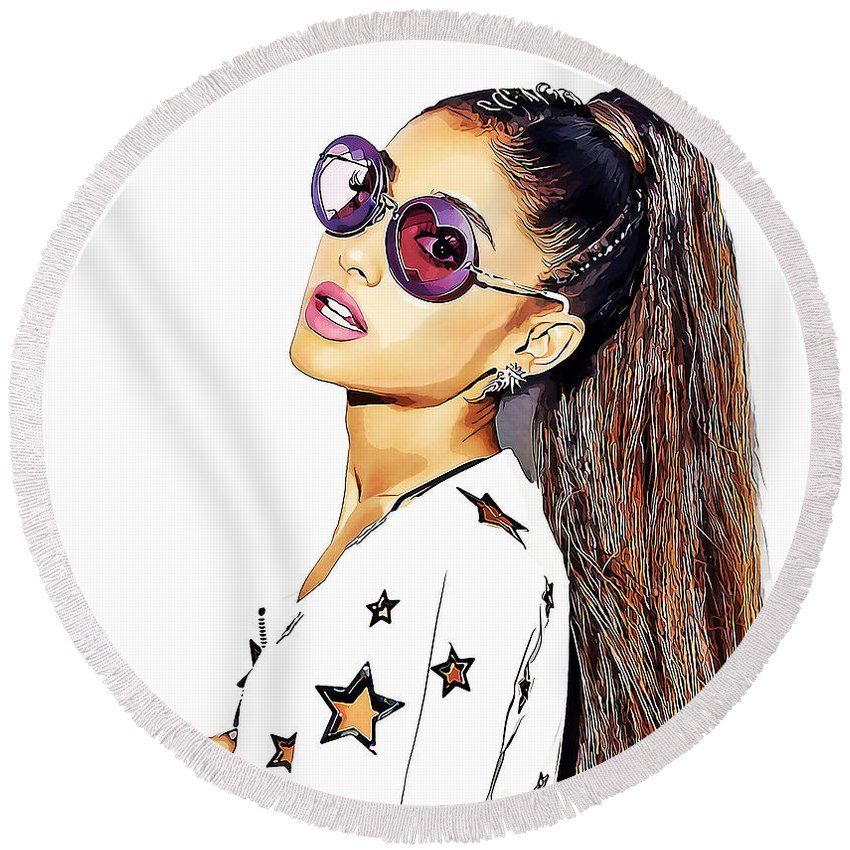 Cool Round Beach Towel featuring the mixed media Ariana Grande by Marvin Blaine