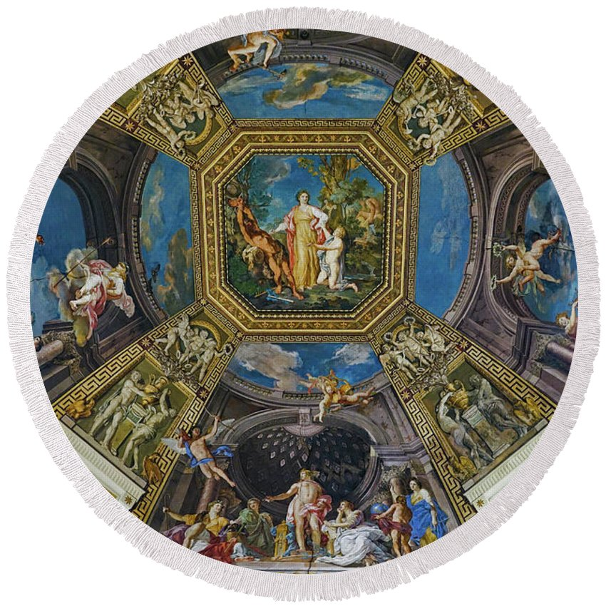 Vatican Round Beach Towel featuring the photograph Artistic Ceilings Within The Vatican Museums In The Vatican City by Richard Rosenshein