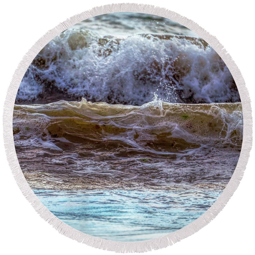 Waves Round Beach Towel featuring the photograph Atlantic Waves by Lilia D