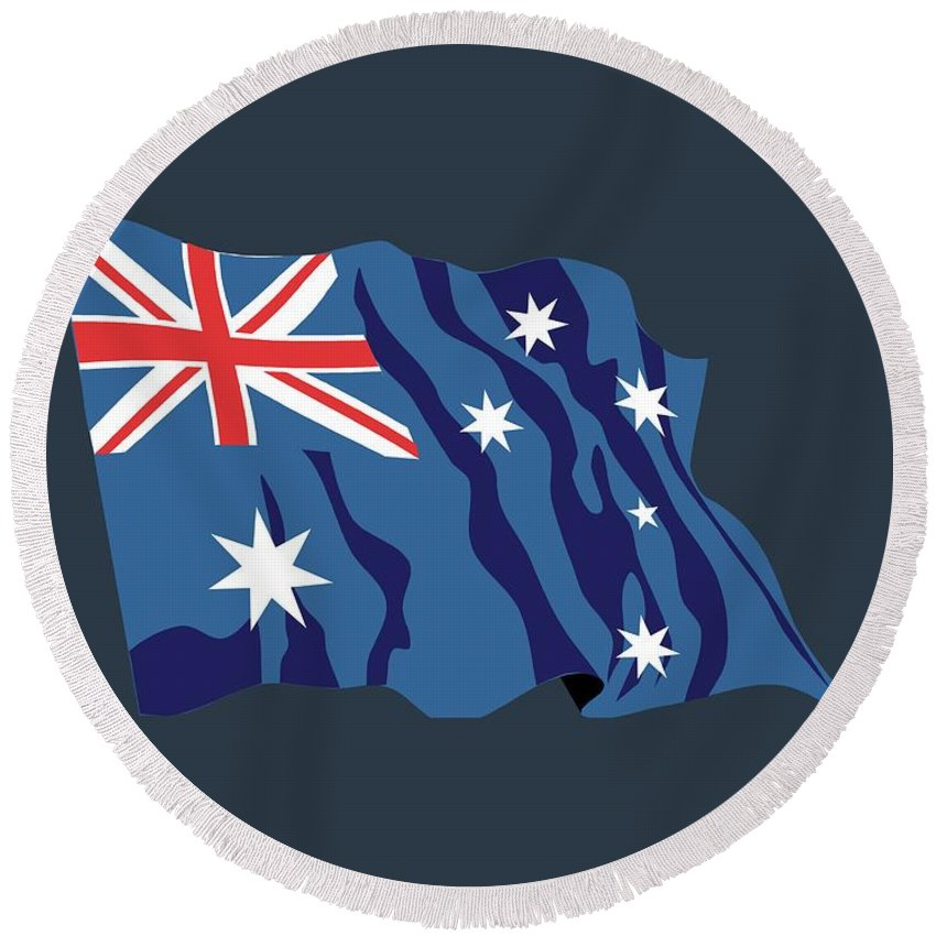 Australia Round Beach Towel featuring the digital art Australia Flag by Frederick Holiday