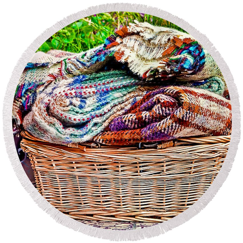 Basket Round Beach Towel featuring the photograph Blankets by Tom Gowanlock