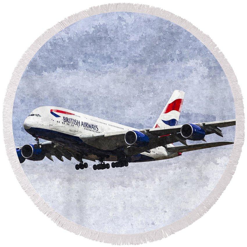 British Airways Oil Round Beach Towel featuring the painting British Airways Airbus A380 Art by David Pyatt