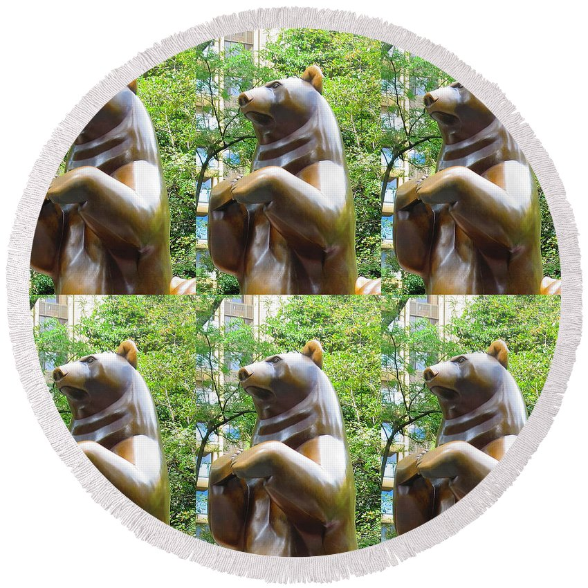 Statue Round Beach Towel featuring the photograph Bronze Statue Sculpture Of Bear Clapping Fineart Photography From Newyork Museum Usa Fineartamerica by Navin Joshi
