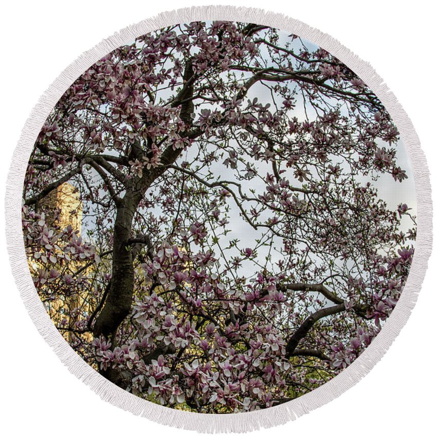 Nyc Round Beach Towel featuring the photograph Central Park Spring by Robert J Caputo