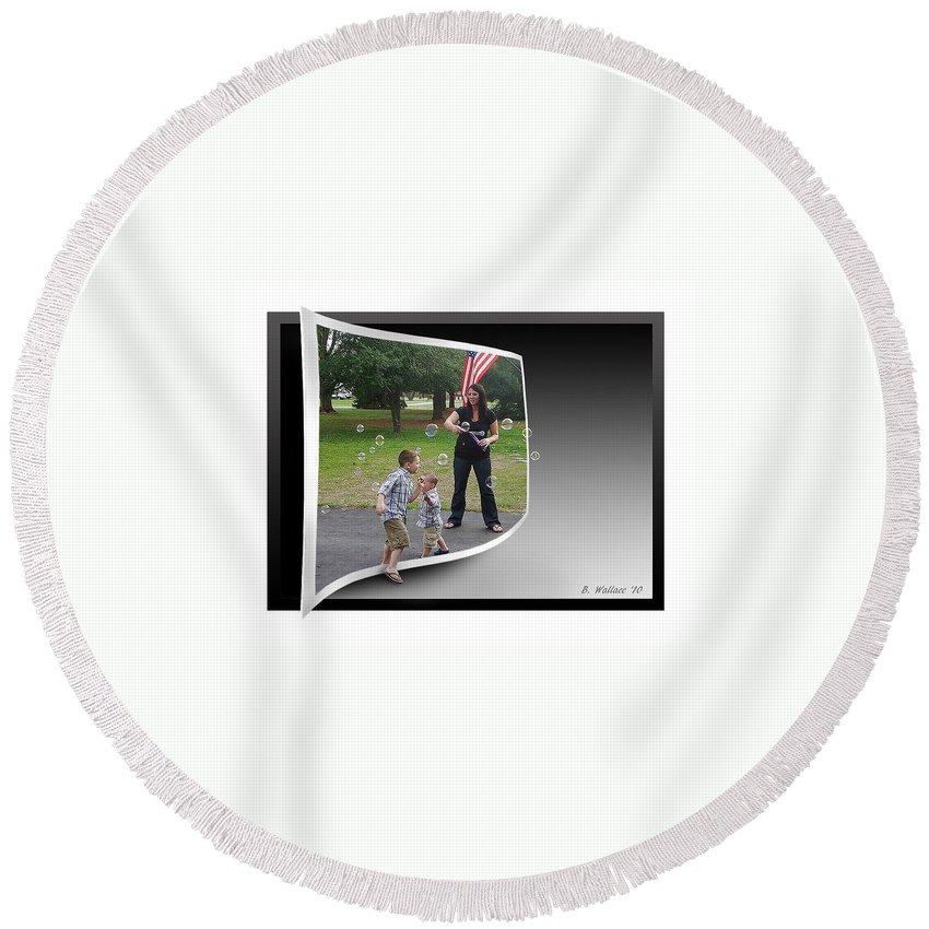 2d Round Beach Towel featuring the photograph Chasing Bubbles by Brian Wallace