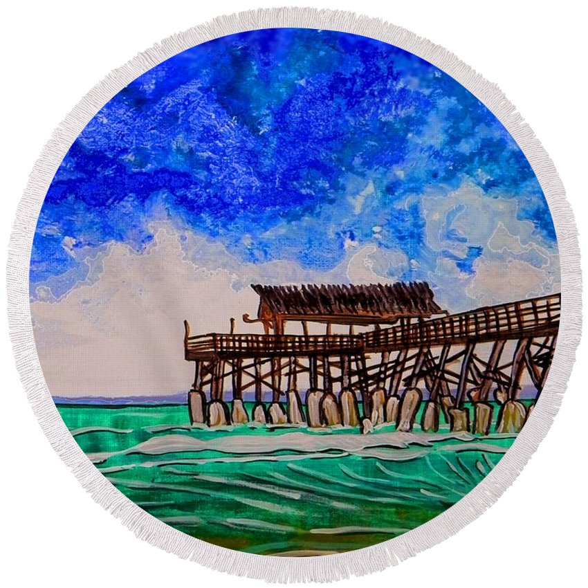 Wgilroy Round Beach Towel featuring the painting Cocoa Beach Pier by W Gilroy