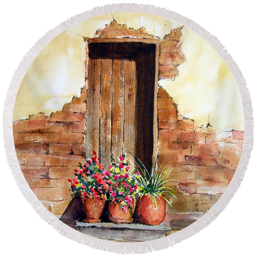 Door Round Beach Towel featuring the painting Door With Pots by Sam Sidders