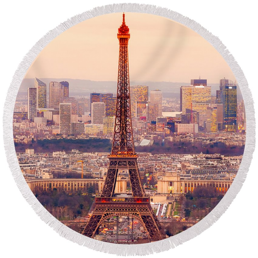 Panorama Round Beach Towel featuring the photograph Eiffel Tower At Sunrise - Paris by Luciano Mortula