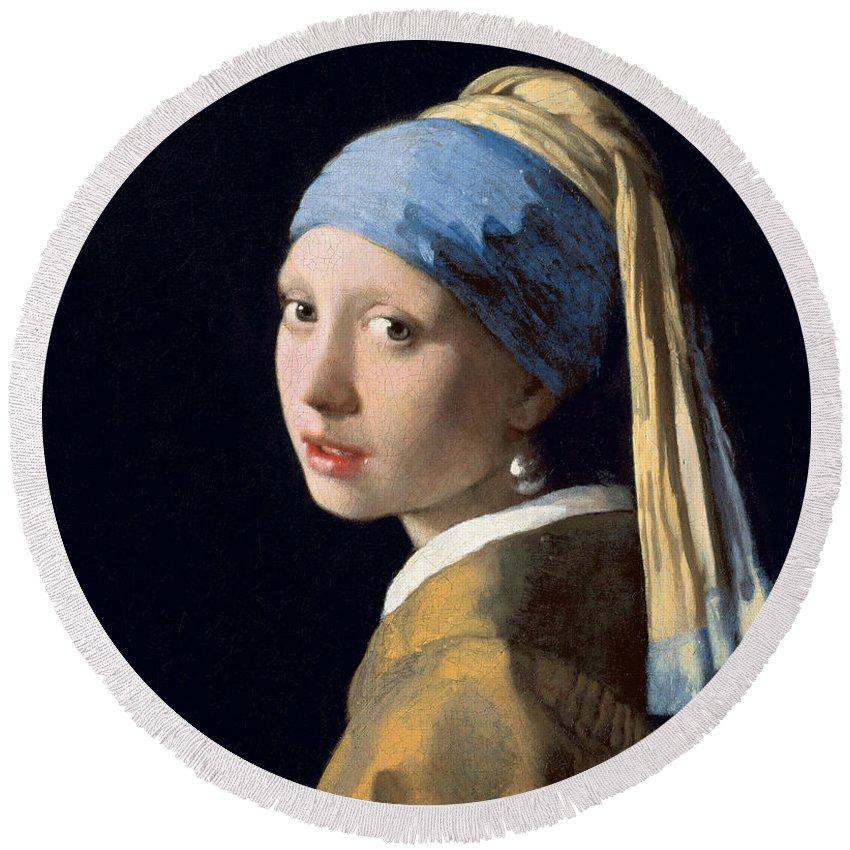 Jan Vermeer Round Beach Towel featuring the painting Girl With A Pearl Earring by Jan Vermeer