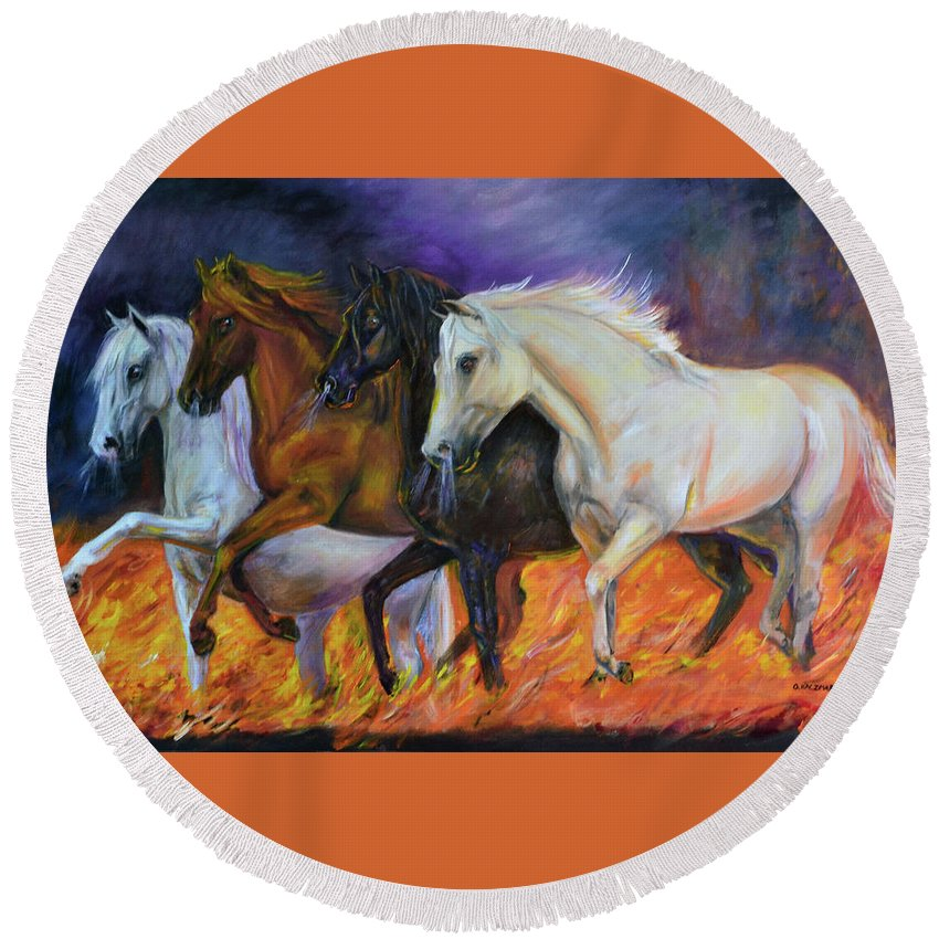 Horse Round Beach Towel featuring the painting 4 Horses Of The Apocalypse by Olga Kaczmar