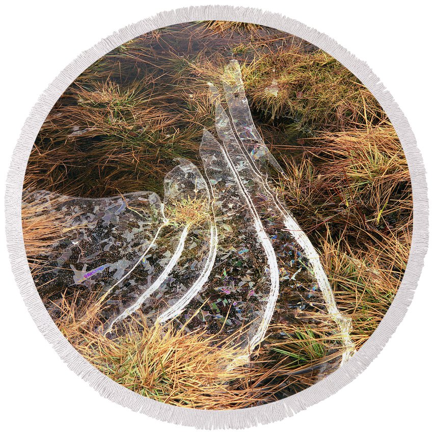 Round Beach Towel featuring the photograph 4. Ice Prismatics In Grass 1, Loch Tulla, by Iain Duncan