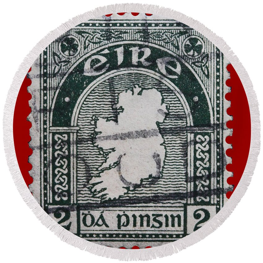 Vintage Irish Postage Stamp Round Beach Towel featuring the photograph Irish Postage Stamp by James Hill