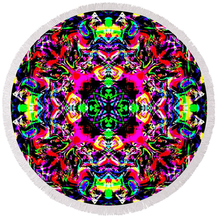Abstract Round Beach Towel featuring the digital art 4 Kings by Blind Ape Art