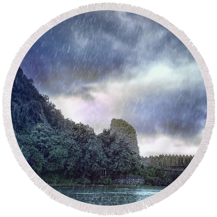 Arttopan Round Beach Towel featuring the photograph Lijiang River Boat Tour In The Rain-arttopan-china Guilin Scenery by Artto Pan