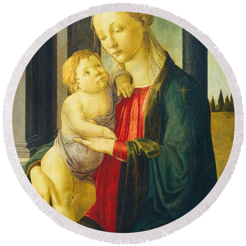 Alessandro Di Mariano Di Vanni Filipepi Round Beach Towel featuring the painting Madonna And Child by Sandro Botticelli