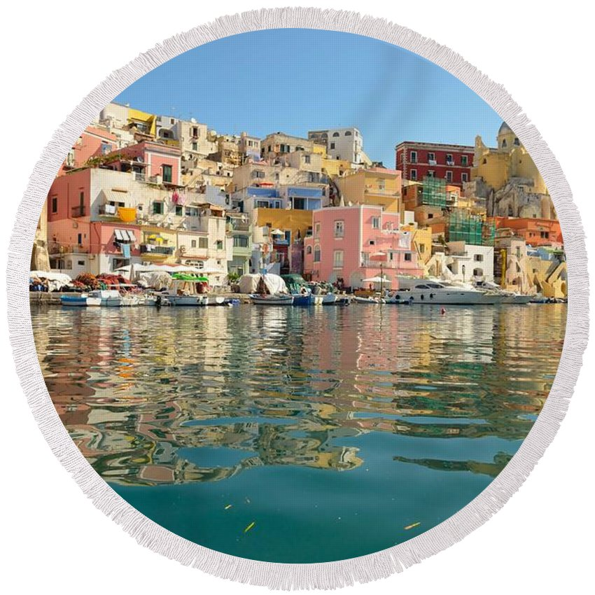 Procida Round Beach Towel featuring the photograph Marina Corricella by Yinguo Huang