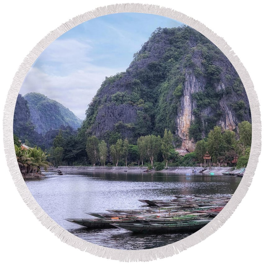 Tam Coc Round Beach Towel featuring the photograph Ninh Binh - Vietnam by Joana Kruse