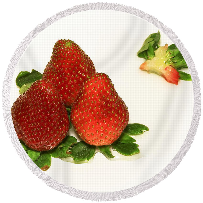 Strawberry Round Beach Towel featuring the photograph 4... No... 3 Strawberries by Evelina Kremsdorf