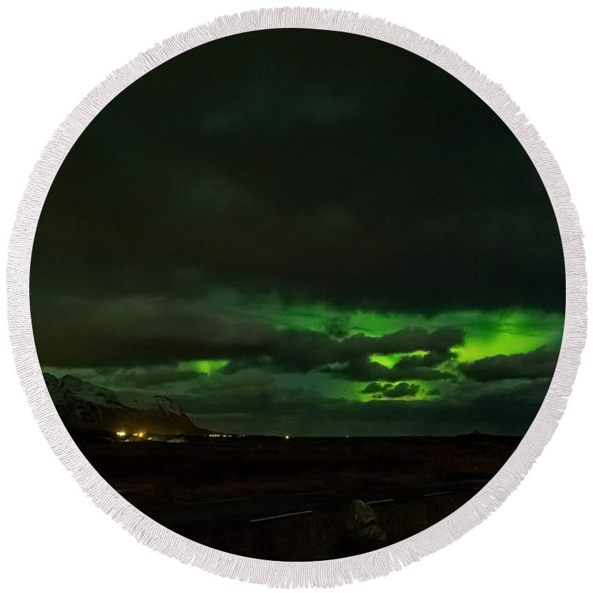 Lofoten Islands Round Beach Towel featuring the photograph Northern Lights by Mark Llewellyn