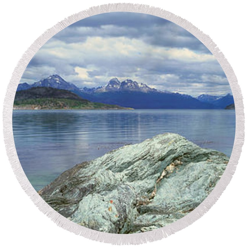 Photography Round Beach Towel featuring the photograph Panoramic View Of Ushuaia, Tierra Del by Panoramic Images