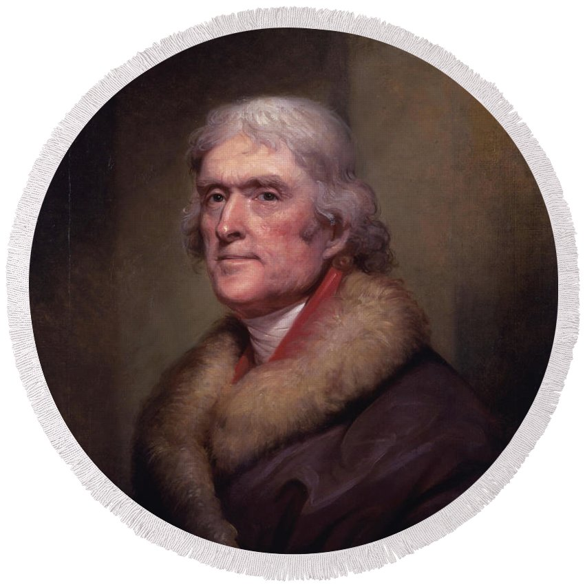 Thomas Jefferson Round Beach Towel featuring the painting President Thomas Jefferson by War Is Hell Store