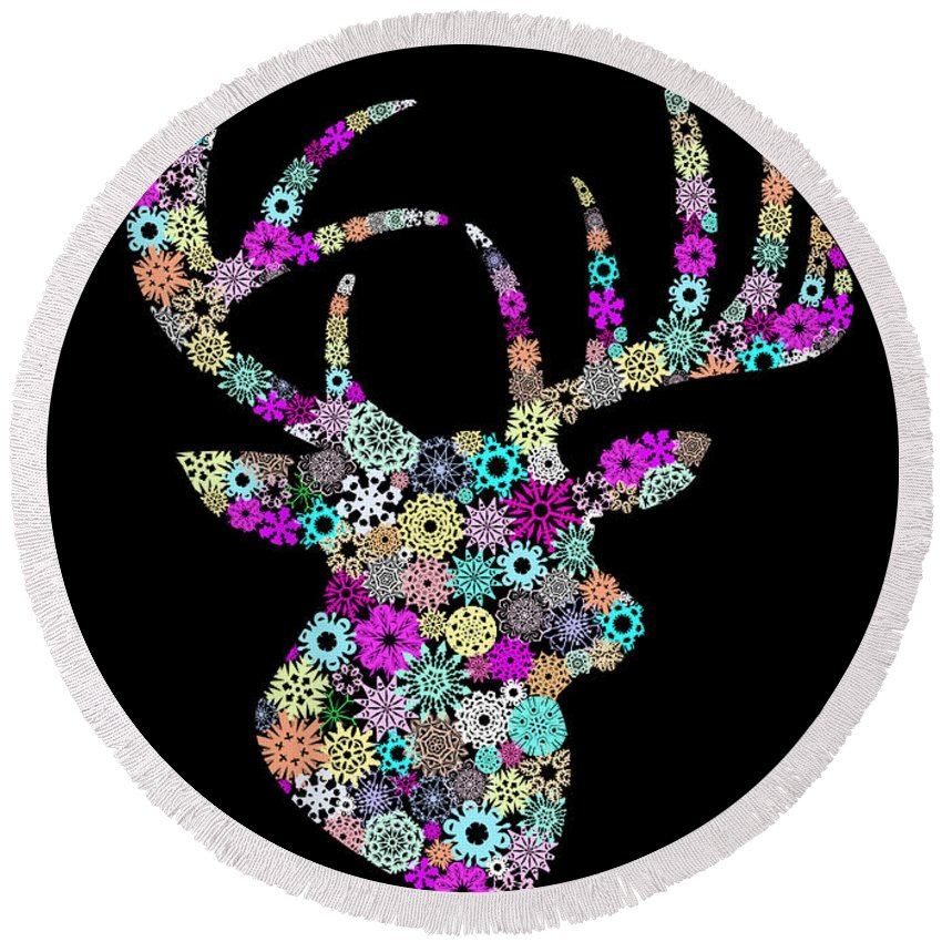 Animal Round Beach Towel featuring the painting Reindeer Design By Snowflakes by Setsiri Silapasuwanchai