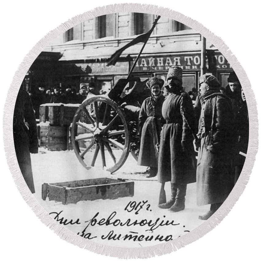 1917 Round Beach Towel featuring the photograph Russian Revolution, 1917 by Granger