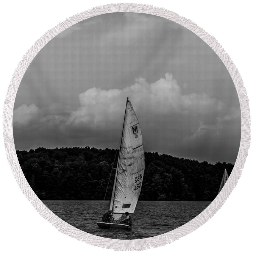 Mast Round Beach Towel featuring the photograph Sail Boat On Large Lake by Alex Grichenko