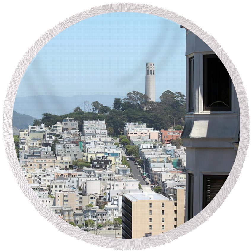 Aerial Round Beach Towel featuring the photograph San Francisco Coit Tower by Henrik Lehnerer