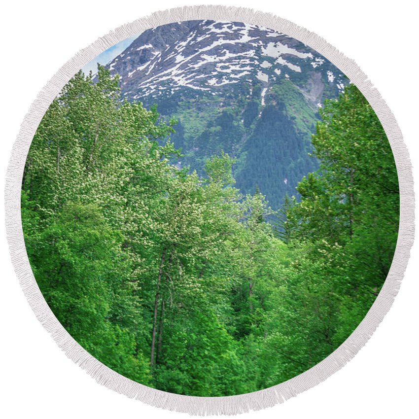 White Round Beach Towel featuring the photograph Scenic Train From Skagway To White Pass Alaska by Alex Grichenko
