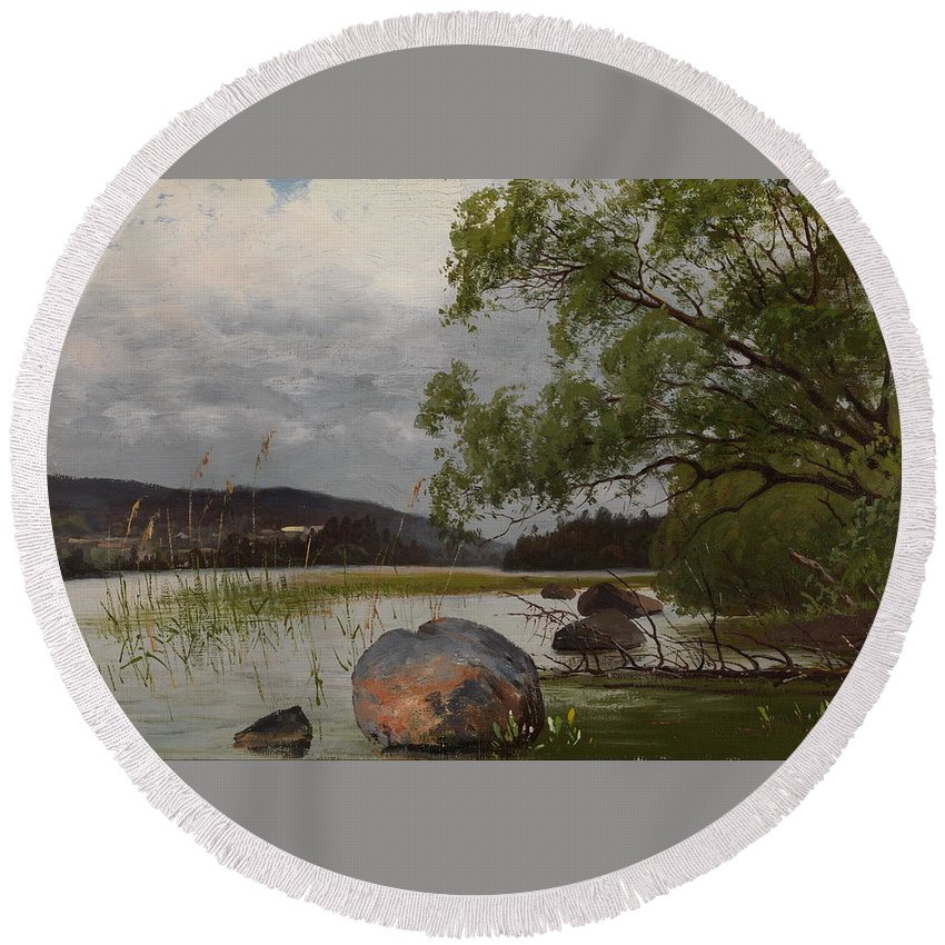 Fanny Churberg Round Beach Towel featuring the painting Shore Landscape by MotionAge Designs