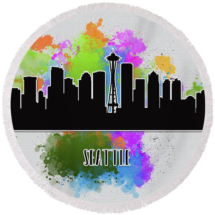 Anna Maloverjan Round Beach Towel featuring the digital art Seattle Skyline Silhouette by Anna Maloverjan