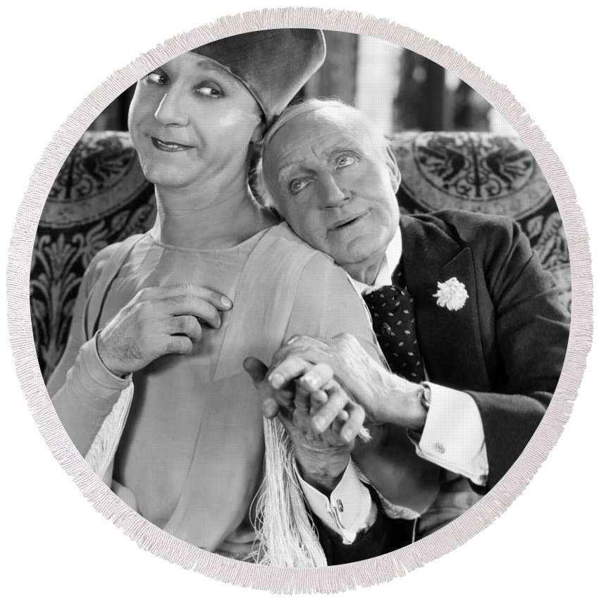 -couples- Round Beach Towel featuring the photograph Silent Film Still: Couples by Granger
