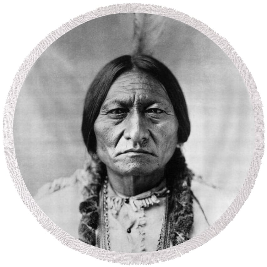 Indian Chief Round Beach Towels