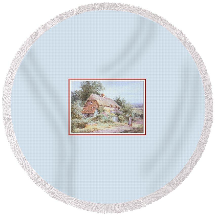 Puzzle Round Beach Towel featuring the digital art Stannardhenryjohnsylvester Girllookingatacottage-we F018 Henry Sylvester Stannard by Eloisa Mannion