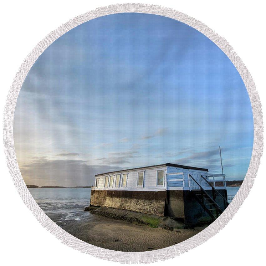 House Boat Round Beach Towel featuring the photograph Studland - England by Joana Kruse