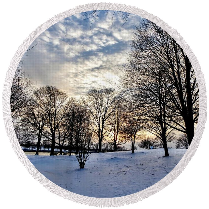 Sunset Round Beach Towel featuring the photograph Sunset Over Obear Park In Snow by Scott Hufford